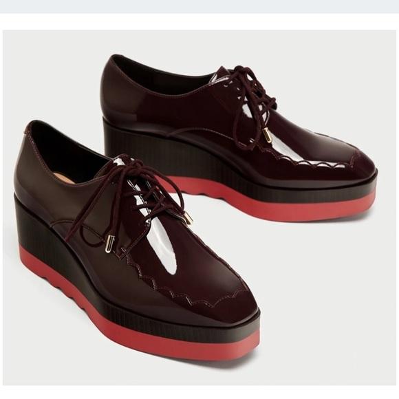 Zara Burgundy Platform Derby Shoes